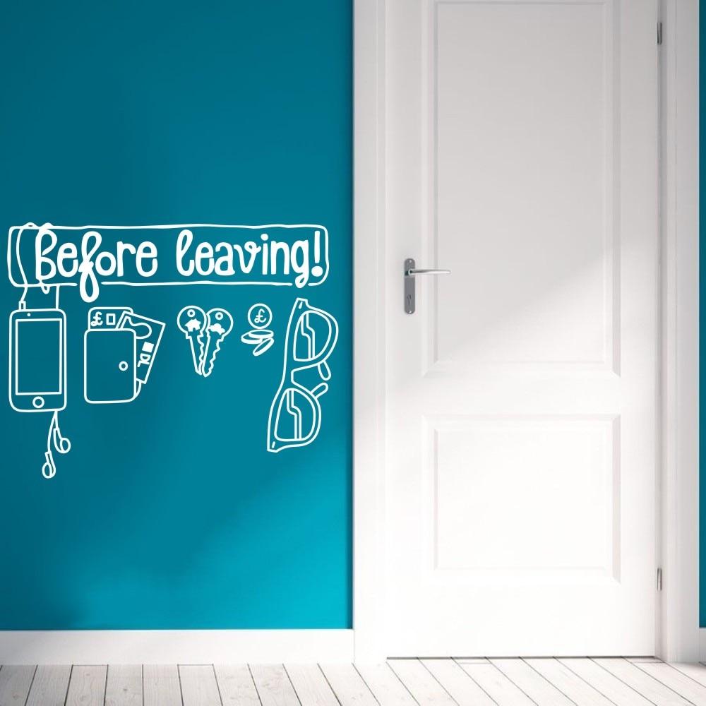 Decalque da parede Do Vinil Adesivo Antes de Sua Licença de Arte Decoartion Casa Óculos Chaves Criativo Design Da Porta Mural Poster Removível WW-456