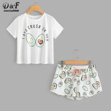 купить Dotfashion Round Neck Print Cartoon Top And Bow Front Shorts Pajama Set  2019 New Woman Short Sleeve Casual Pajama Set по цене 779.06 рублей
