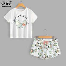 Dotfashion Rundhals Print Cartoon Top Und Bogen Vorne Shorts Pyjama Set 2019 Neue Frau Kurzarm Casual Pyjama Set(China)
