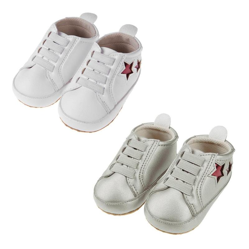 Newborn Baby First Walkers PU Shoes Boys Shoes White Silver Comfortable Girls Baby Sneakers Kids Toddler Shoes