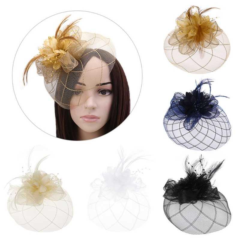 695c559b4f265 ... Womens Barrette Fascinator Flower Pillbox Hat Beaded Feather Hair Clip  Wedding Headwear Gift Decoration W77 ...