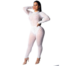new womens beads slim bodysuit hot drilling perspective sexy jumpsuit nightclub white black