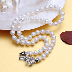 Image 4 - FENASY freshwater oval pearl necklace for women 7 8mm pearl jewelry choker classic rosette necklace for women love wedding