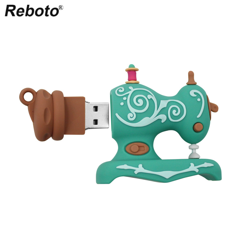 Reboto Sewing Machine USB Flash Drive 32GB 16GB USB 2.0 Lovely Cartoon 64GB Pen Drive 8GB 4GB Mini Pendrive Memory Stick