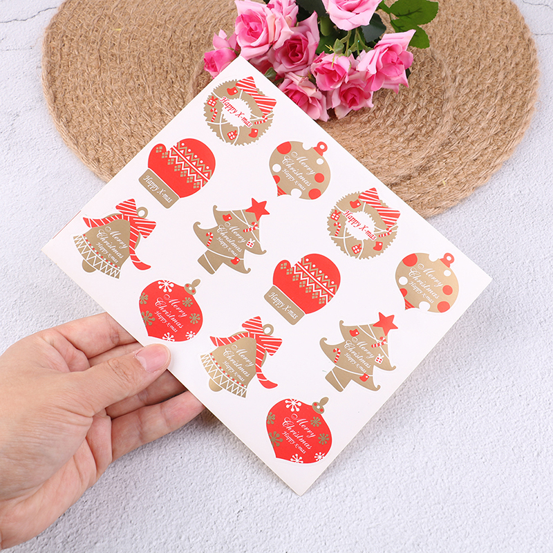 10 Sheets=120 Pcs Merry Christmas Series Sealing Stickers DIY Gifts Candy Bags Note Labels Kraft Paper Tags N