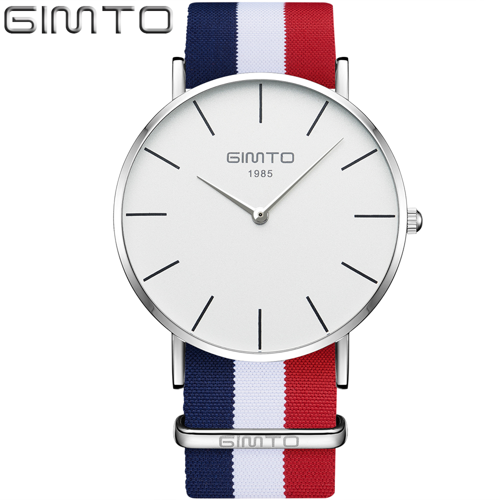 Dress Brand GIMTO Simple Casual Watches Men Nylon Silver Fashion Quartz Watch Women Clock Sport Male Female Wristwatch Lovers ot01 classic nylon stripes watches 2016 luxury brand simple super thin quartz watch men women lovers casual quality wristwatche