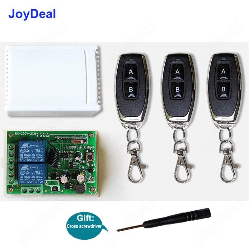 433 Mhz 220 V 2CH interruptores de Control remoto inalámbrico receptor módulo 433 Mhz Control remoto pared puerta transmisor RF
