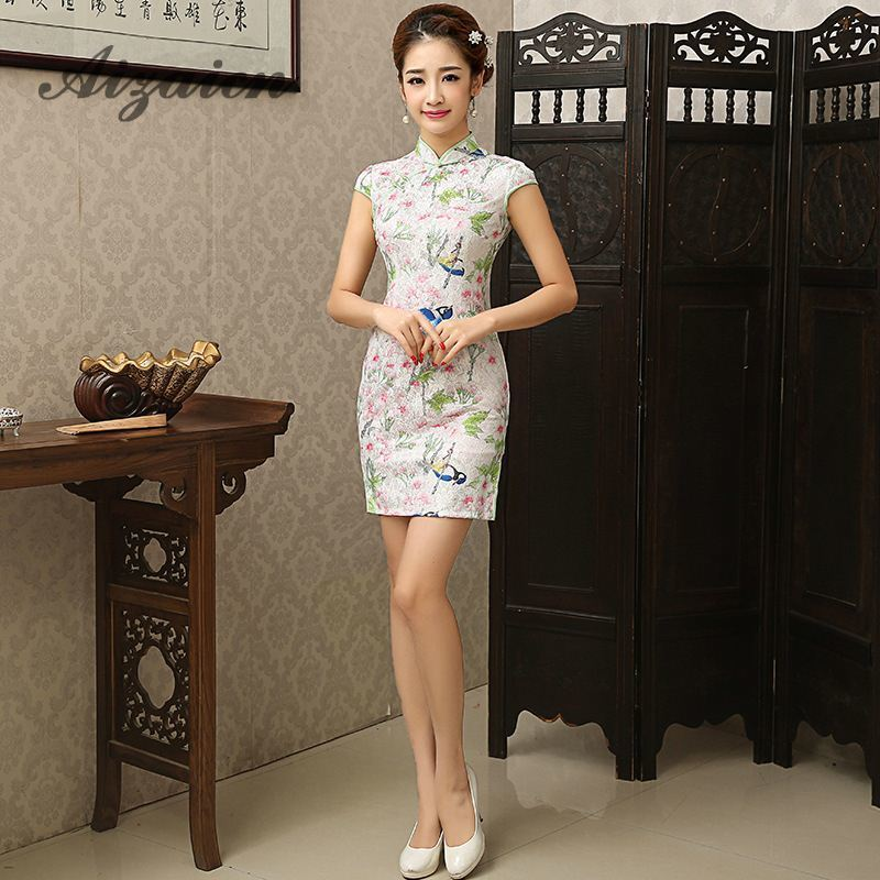 Traditional Chinese Dress Silk Cheongsam Qipao Wedding Robe Chinoise Vintage Women Vestido Oriental Dresses Mini Qi Pao Chipao
