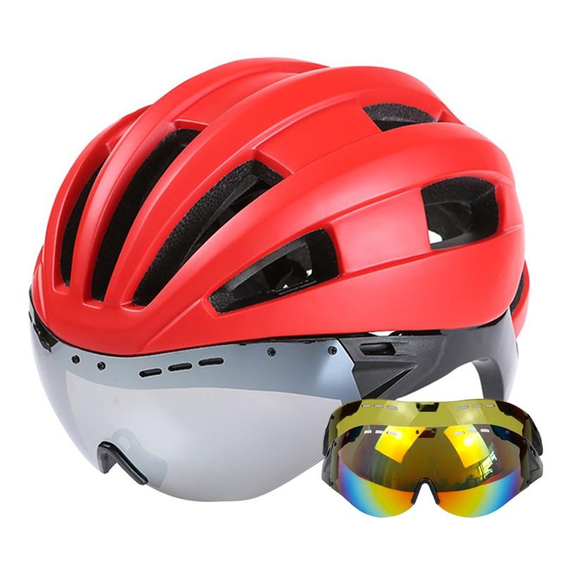 310g Goggles Cycling Helmet Integrally molded Road Mountain MTB Bike Bicycle Helmet With Lens Helmet Bike Casco Ciclismo|Bicycle Helmet| |  - title=