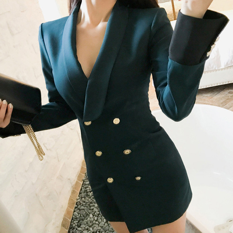 Autumn Deep Green Notched Collar Patchwork Women  Blazer Dress Office Ladies Elegant Empire Double Breasted Fashion Sexy Vestido