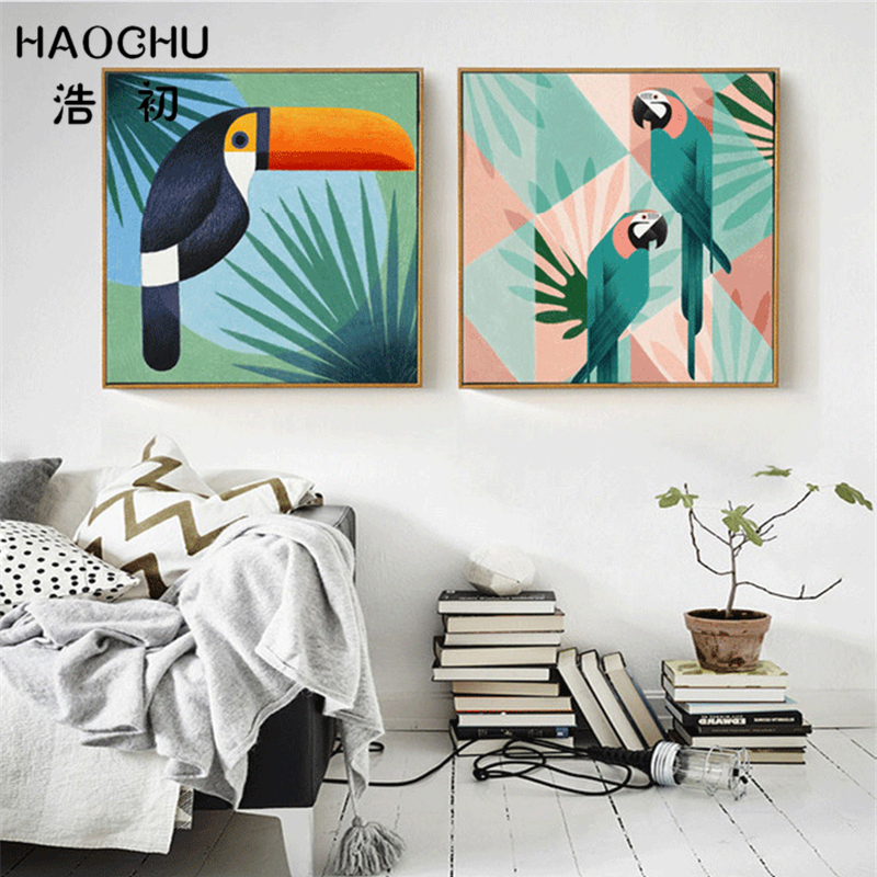 HAOCHU Modern Tropical Green Leaf Geometric Bird Parrot Minimalist Landscape Canvas Painting Wall Art Picture Living Room Decor