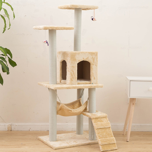 Amazing H125cm Cat Toy Tree House Bed With Mouse Tree Kitten Furniture Scratchers  Solid Wood For Cats