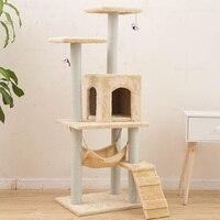 H139cm Кот Игрушка Дерево дом кровать с мышь дерево котенок мебель лотерейный твердой древесины для кошек лазалки кошка квартиры