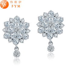 FYM Fashion New Arrival Plant White Crystal Stud Earring Copper Gold Color Trendy AAA Cubic Zirconia CZ Earrings Women misananryne design siliver gold color aaa cz wedding hoop earrings for women women s trendy pink blue cubic zirconia earring