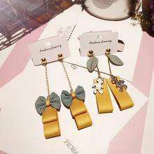Korea Handmade Fabric Bowknot Leaf Bear Women Drop Earrings Bangle Earring Fashion Jewelry Accessories-JQD5