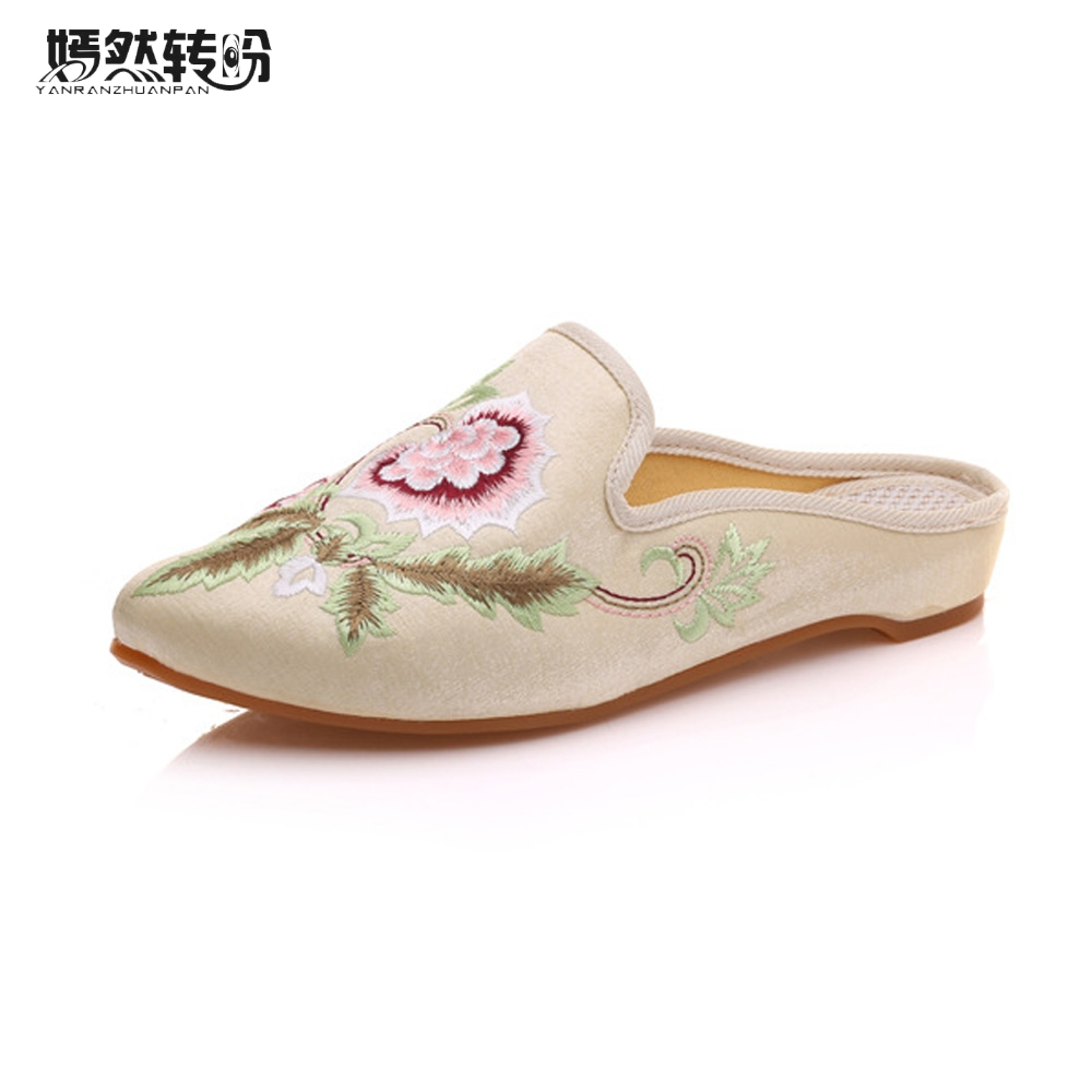 Women Summer Slippers Pointed Toe Floral Embroidered Faux Suede Sandals Comfort Slip-on Cotton Zapatillas Woman Plus Size 43 plus size floral embroidered v neck dress