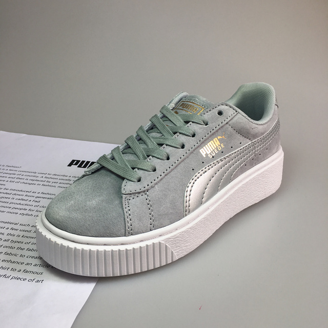 80058b1ffee7 2019 New PUMA x FENTY Suede Cleated Creeper Men s And Women s Rihanna  Classic Basket Tone Badminton Shoes Pro Sneakers Flat