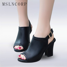 plus size 34-43 Summer Sexy Open Toe Shoes Woman New Women's Sandals Square Heel Gladiator Fashion Nice High Heels Office Dress facndinll fashion patent leather summer shoes woman 2018 new peep toe high heels grace square heel women office dress sandals