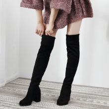 Пикантные облегающие эластичные ботфорты из флока; женская обувь; коллекция года; сезон осень-зима; женские высокие сапоги до бедра на высоком каблуке; botas