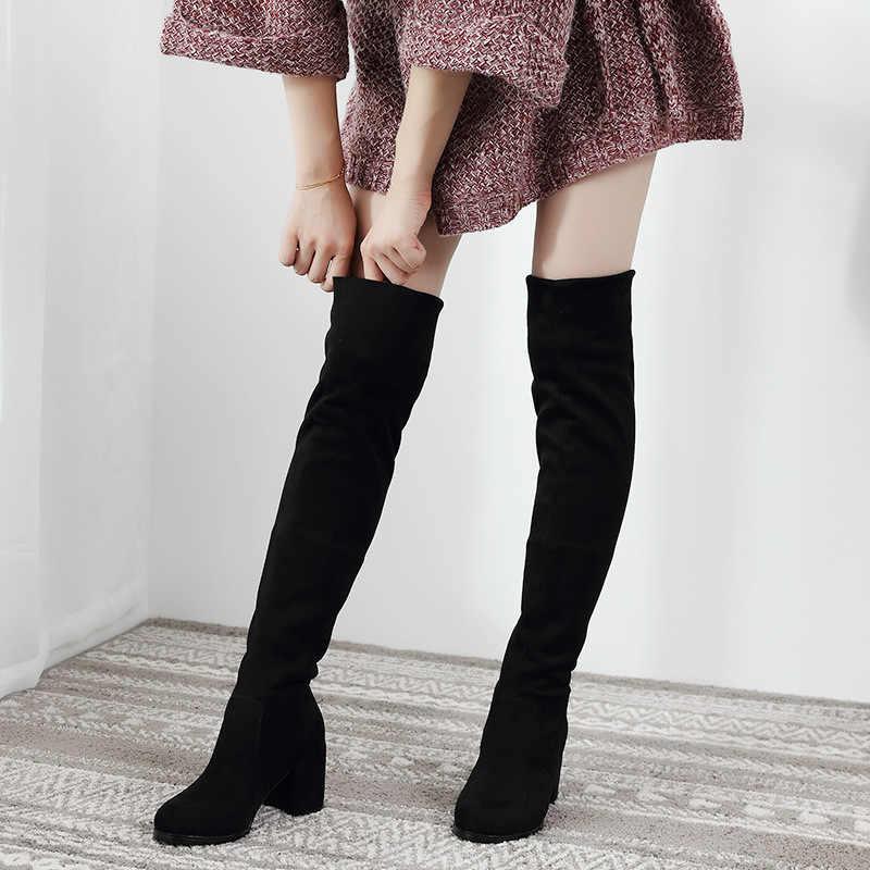 เซ็กซี่ SLIM FIT ยืดหยุ่น FLOCK เข่ารองเท้ารองเท้าผู้หญิง 2019 ฤดูใบไม้ร่วงฤดูหนาวรองเท้าส้นสูงยาวต้นขาสูง botas