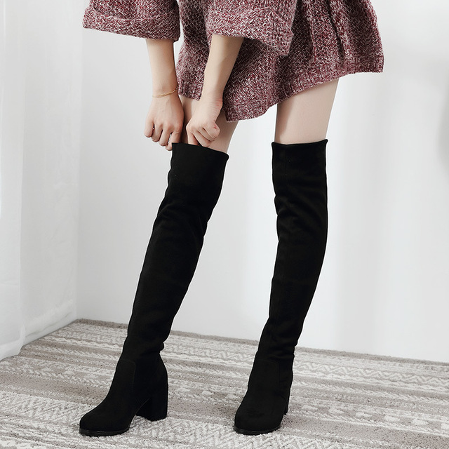 sexy slim fit elastic flock over the knee boots women shoes 2020 autumn winter ladies high heel long thigh high botas