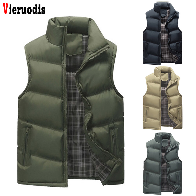 Male Spring Autumn Sleeveless Jackets Stand Collar Plus Size 4XL Waistcoats Army Khaki Casual Vest Solid Men's Vests Men Coats