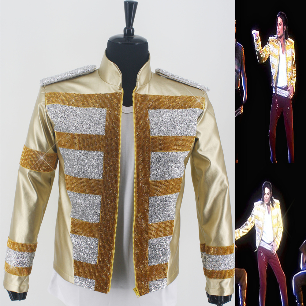 Rare MJ Michael Jackson Shocked New Fashion 3D Holographic Slave To The Rhythm LIVE Billboard Music Awards Crystal Golden Jacket