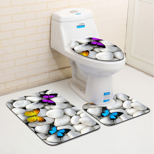 Zeegle Beach 3Pcs / Set Carpet Bathroom Absorbent Mat For Toilet Bathroom Floor Mats Absorbent Bathroom Mat Set Bathtub Mats