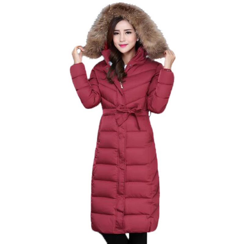 New Winter Cotton Coat Women Plus Size Hooded Warm Padded Jacket Fur Collar X-Long Thick Slim Parkas Mother Coat PW0771 2015 new hot winter thicken warm woman down jacket coat parkas outerwear rabbit fur collar luxury slim long plus size xl high