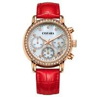 Ms CASIMA Watches Fashion Temperament Luminous Multi Functional Waterproof Watch Set Auger Three Eyed Timing Quartz