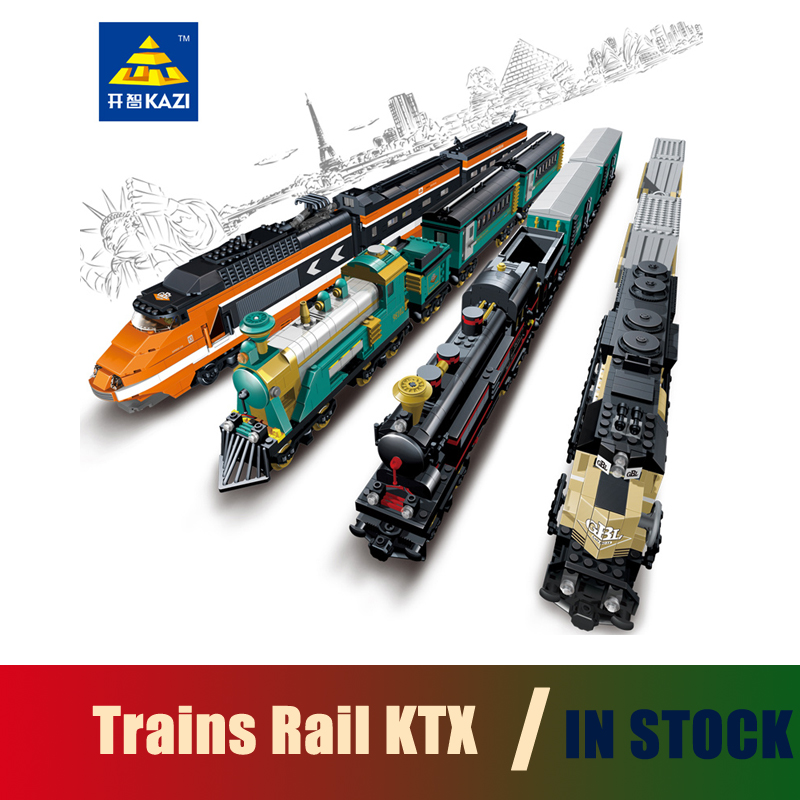 Compatible with lego city Model building kits trains rail KTX 3D blocks Educational model building toys hobbies for children china brand l0090 educational toys for children diy building blocks 00090 compatible with lego