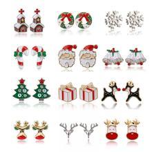 Stud-Earrings Christmas-Tree Fashion Jewelry Santa-Claus Pendientes Boucle Cartoon Women