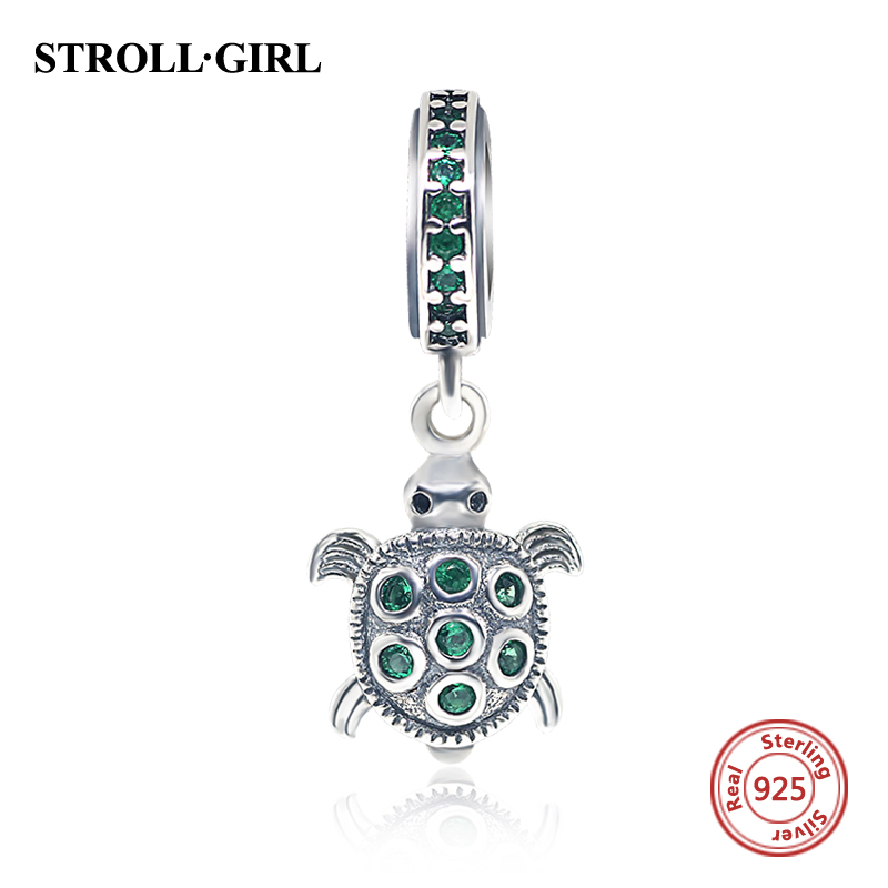 Hot Sale Clear Green CZ Turtle Pendants Charm Beads Fit Authentic pandora Bracelets Original 925 Sterling-Silver-Jewelry Gifts