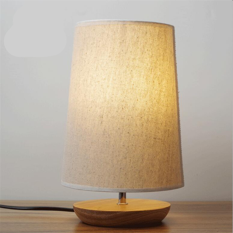 Modern Nordic Europe Minimalism Fabric Lampshade Wood Led E14 Table Lamp for Study Bedroom Foyer Living Room AC 80-265V 1600 modern creative fashion wood fabric led e27 floor lamp for living room bedroom hotel guest room deco light ac 80 265v 1010