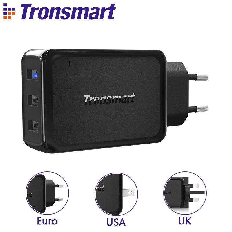 [3 puertos] Tronsmart W3PTA carga rápida 3,0 cargador USB con tecnología VoltiQ para Xiaomi para LG G5 rápido teléfono cargador adaptador EU US UK