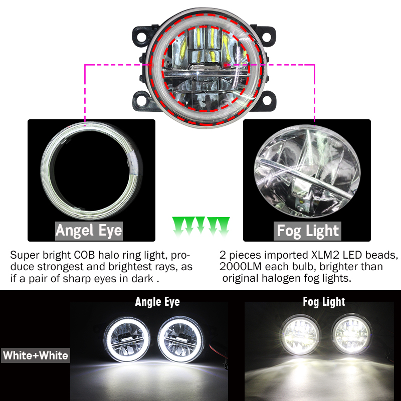 Image 2 - Cawanerl For Ford Focus MK2 MK3 2004 2015 Car LED Bulb 4000LM Front Fog Light + Angel Eye Daytime Running Light DRL 12V 2 Pieces-in Car Light Assembly from Automobiles & Motorcycles