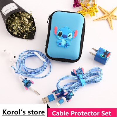 Cute Cartoon USB Cable Earphone Protector Set With Earphone Box Cable Winder Stickers Spiral Cord Protector For iphone 6 7 8plus zuczug 3pcs 60cm spiral cord protector wrap cable winder for usb charger cable cute animal organizer for data cable earphone
