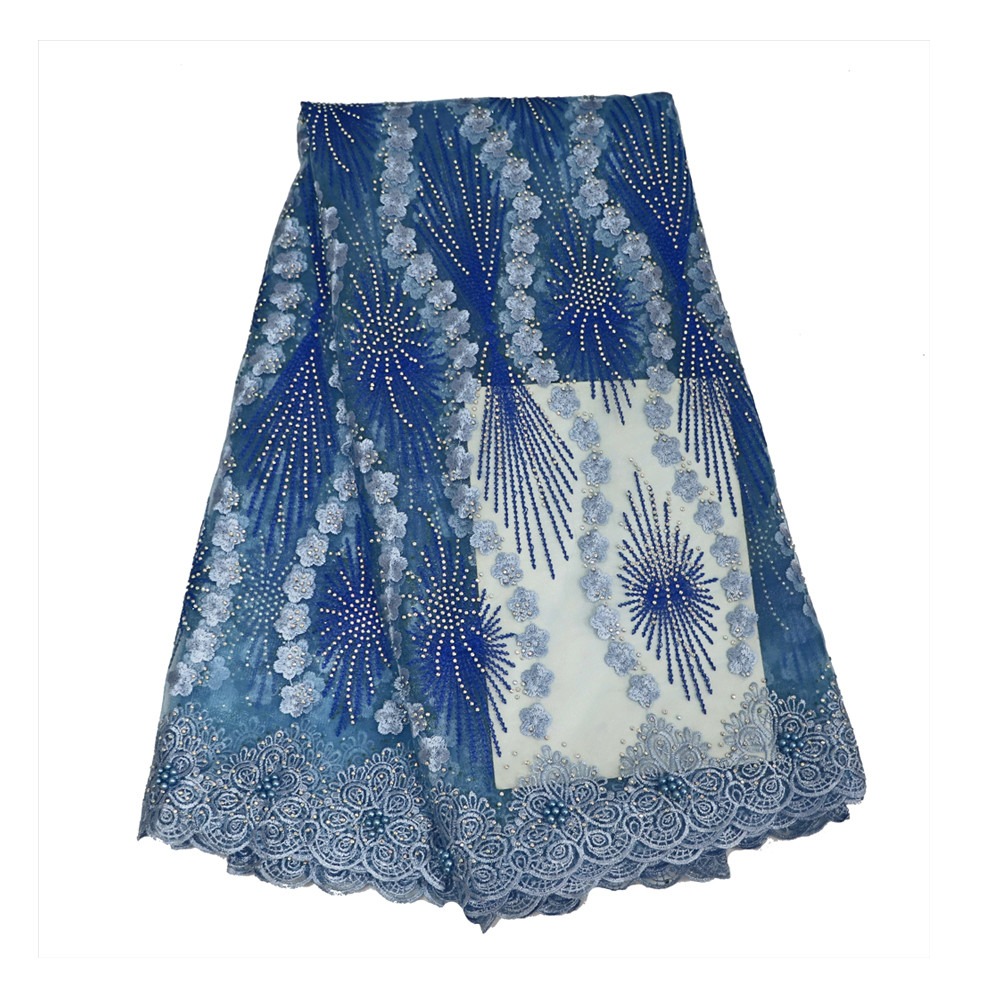 Latest Allover Stones Design Embroidery African French Blue Net Lace Fabric X542-10Latest Allover Stones Design Embroidery African French Blue Net Lace Fabric X542-10