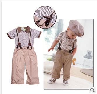 Garçons vêtements ensemble été enfants à manches courtes col rabattu t-shirt + pantalon bébé vêtements/costume enfants porter livraison gratuite