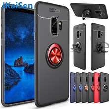 Case for Samsung Galaxy A7 A9 2018 S7 Edge 8 9 Plus J5 6 7 Car Magnetic Suction Bracket Finger Ring Soft TPU Back Note 8 9 Cover(China)