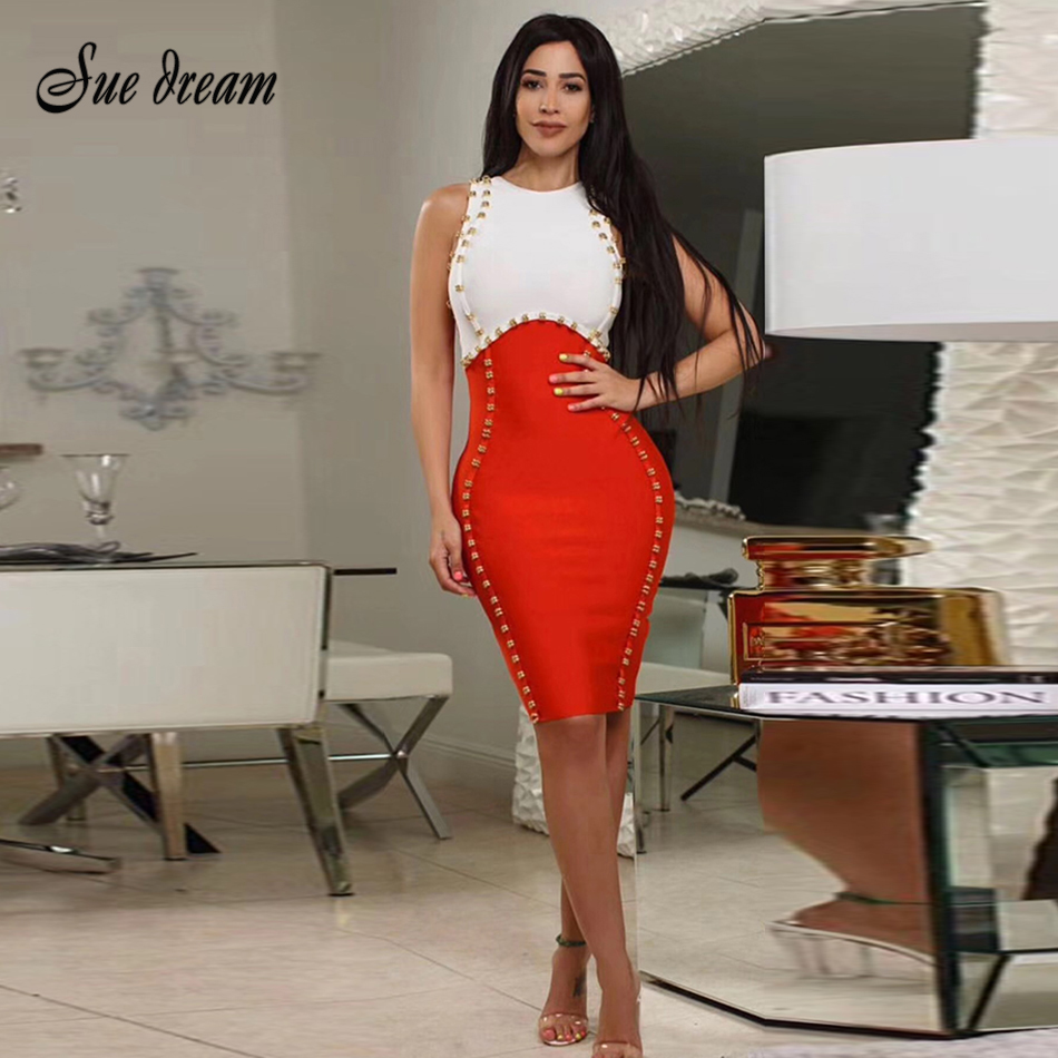 Summer Women's Bandage Dress 2018 Red and White Sexy Round Neck Sleeveless Tank Skinny Dress Celebrity Party Dress