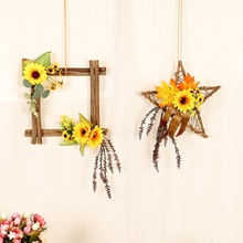 Wooden Frame Artificial Sunflowers Decorations Faux Floral Decorative Hanging Ornament Wall Window Wedding Party Home Decor