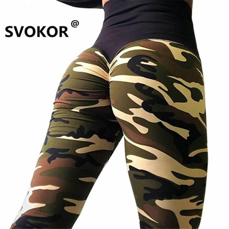 SVOKOR High Waist Push Up Leggings Women Camouflage Printed Leggings Sportswear Leggins Femme Elasticity Wrinkle 4Color Pants