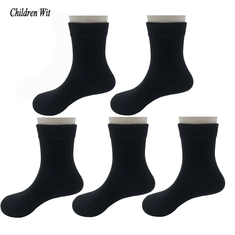 Children Wit Autumn Winter 1-10 Year Boys Socks Candy-Colored High Quality Cotton Student Socks 5 Pairs Kids Socks