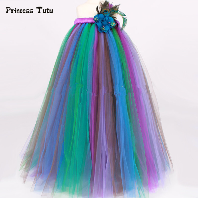 Girls Party Dress Cosplay Peacock Princess Tutu Dress Children Host Pageant Tulle Dress Ball Gown Kid Birthday Halloween Costume