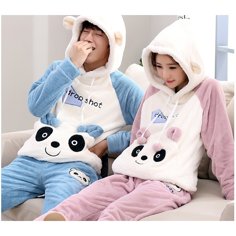 Hot Autumn and winter coral velvet couple pajamas mens pajamas and velvet padded winter ladies flannel home service suits ...