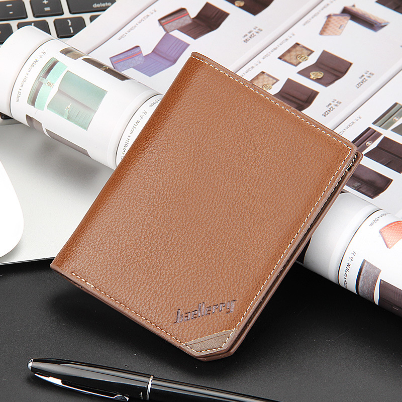 Fashion Design Baellerry Top Quality Men Short Wallet PU Leather Coin Purses Male Simple Money Pocket Credit Card Holders Cheap