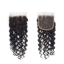 YAVIDA Hair Closure Brazilian Hair Water Wave Lace Closure Natural Color 100% Human Hair Closure Non-Remy Free Shipping