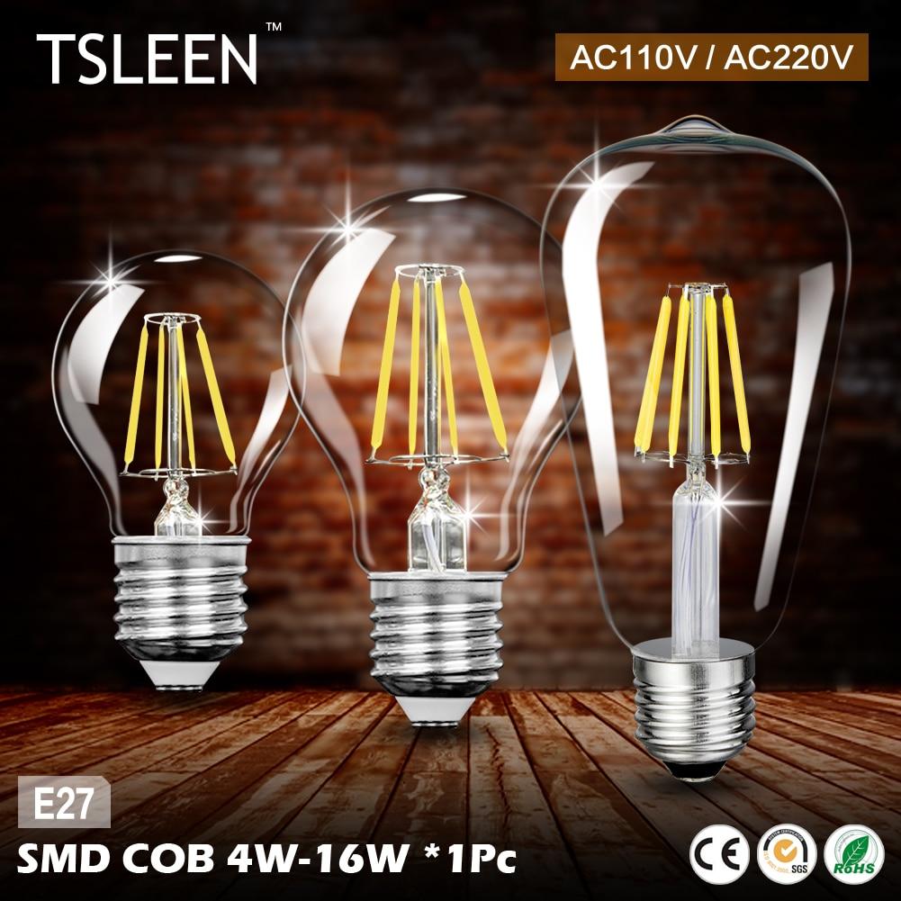 TSLEEN E27 Retro Vintage LED Edison Bulb LED Lamp G45 A60 ST64 Filament Light 4W 8W 12W 16W COB Candle Light Lamp AC 110V 220V 5pcs e27 led bulb 2w 4w 6w vintage cold white warm white edison lamp g45 led filament decorative bulb ac 220v 240v