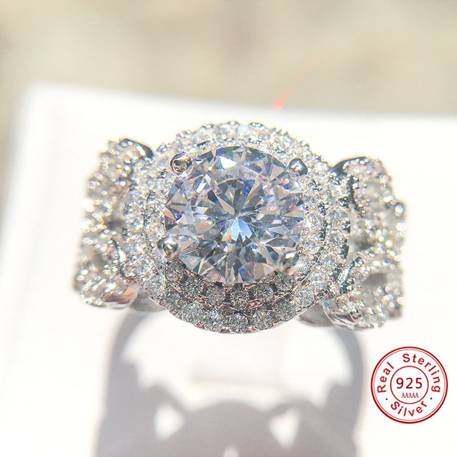 Big AAA Cubic Zirconia Engagement Rings Wholesale 925 Sterling Sliver Crystal Fa